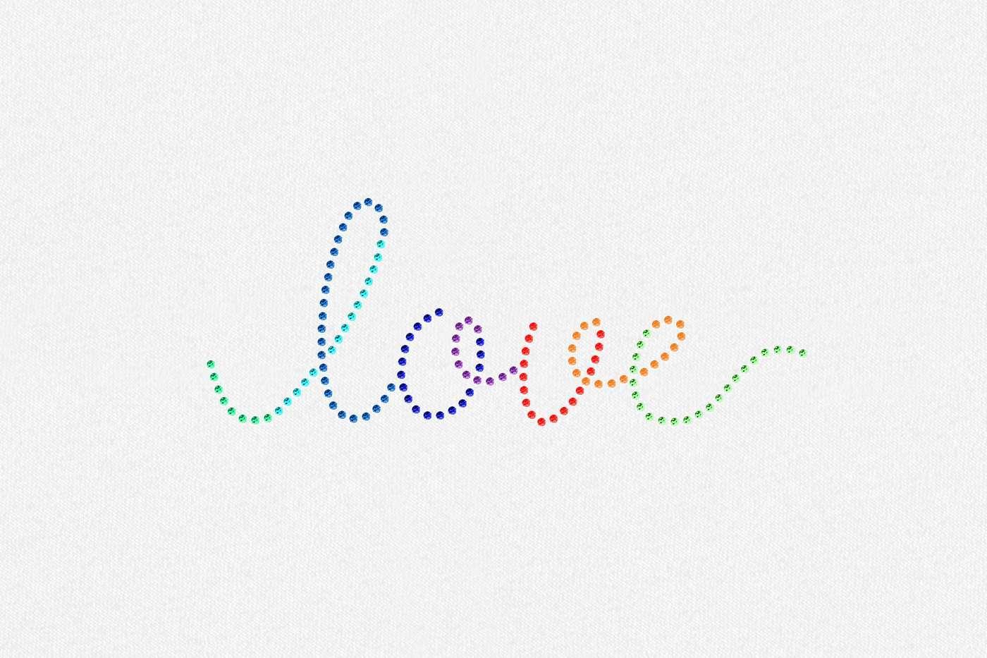 rainbow love rhinestone transfer
