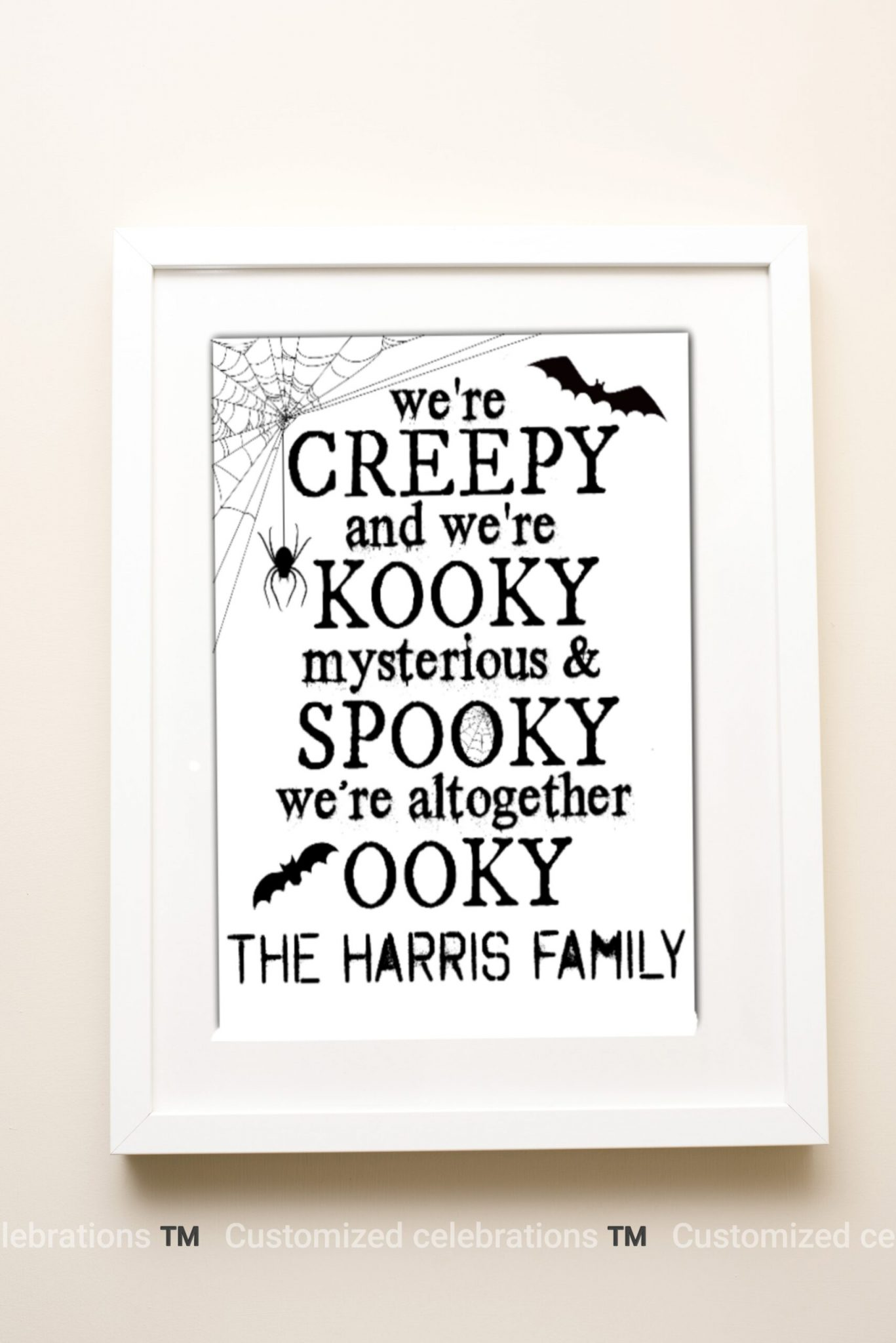 personalised family Halloween quote print