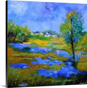 Cobalt Blue and Green Landscape