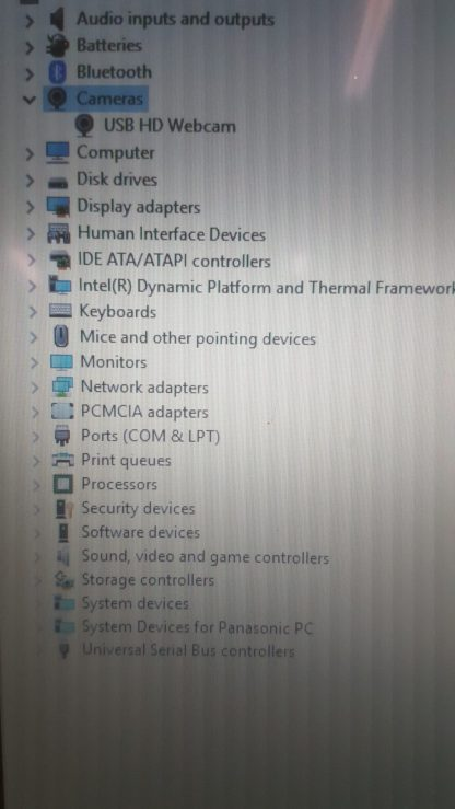 CF-31 HD Webcam Device Manager