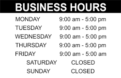 Salon business tips hours sign