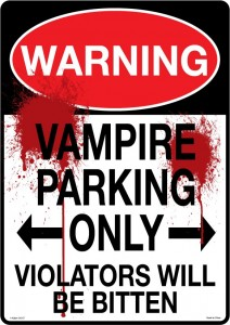 no parking vampire sign