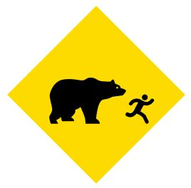 beware bear chasing custom sign