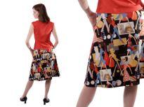 "A-line skirt made from cute cartoon ""runway models"" print fabric."