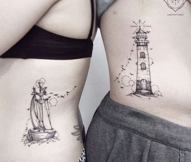 Lighthouse And Ship Couple Tattoo
