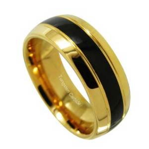 8mm-Tungsten-Carbide-Ring-Two-Gold-Dome-Grooves-And-Black-Grooves-Inlay