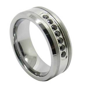 Luxury-Style-Mens-Tungsten-Ring-Channel-Set-Black-CZ-Inlay-8mm-Cubic-Zirconia
