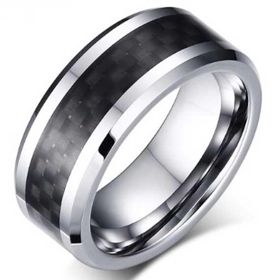 Mens-Tungsten-Carbide-Ring-Black-Carbon-Fiber-Inlay