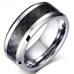 Mens-Tungsten-Carbide-Ring-Black-Carbon-Fiber-Inlay