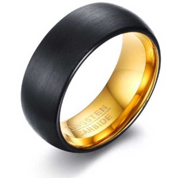 black matt surface-with-gold-inner-lining-tungsten-ring
