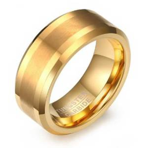 gold-with-brushed-single-stripe-8mm-mens-tungsten-ring