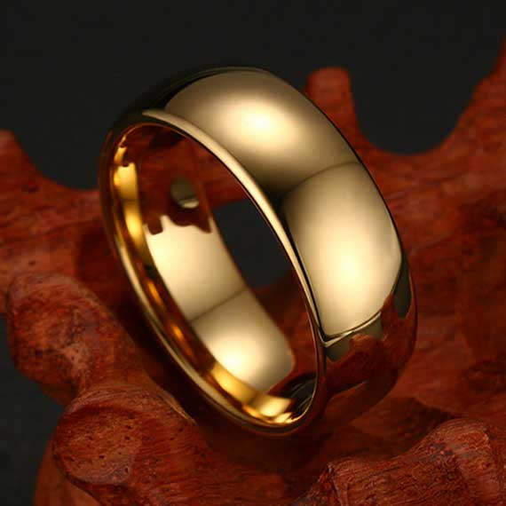 mens-8mm-polished-smooth-gold-tungsten-ring-uk