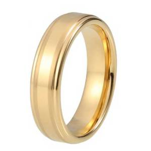 Mens 6mm Stepped Edged Brushed Matt and Polished Finished Gold Tungsten Ring