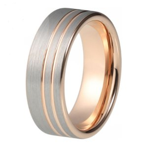 mens 8mm brushed silver effect and rose gold twin stripes and matching lining