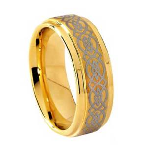 mens-8mm-gold-stepped-edges-with-celtic-design-tungsten-ring