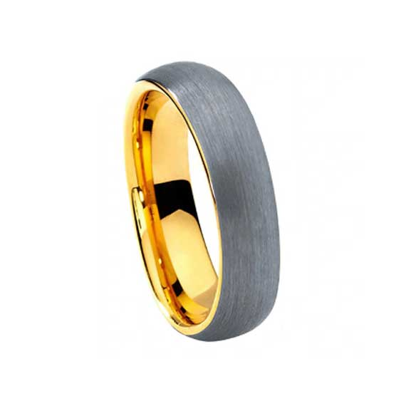 Ladies 6mm gold with silver matte finish tungsten ring