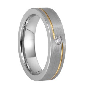 Woman's 5mm Matte Silver Tungsten Ring Inlaid CZ Stone