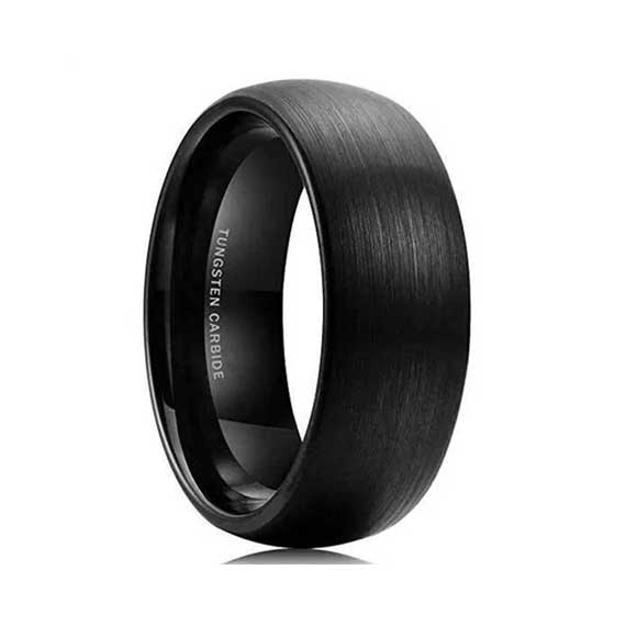 Mens 8mm black tungsten ring-Custom Tungsten Rings