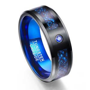 Mens 8mm Carbon Fiber Scrub Blue Zircon Tungsten Ring custom tungsten rings