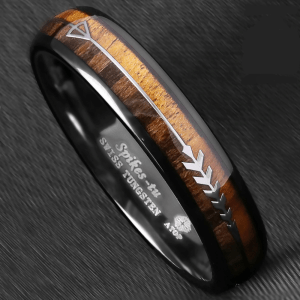 6mm Black Dome Tungsten Ring 2 Style Wood Arrow 1