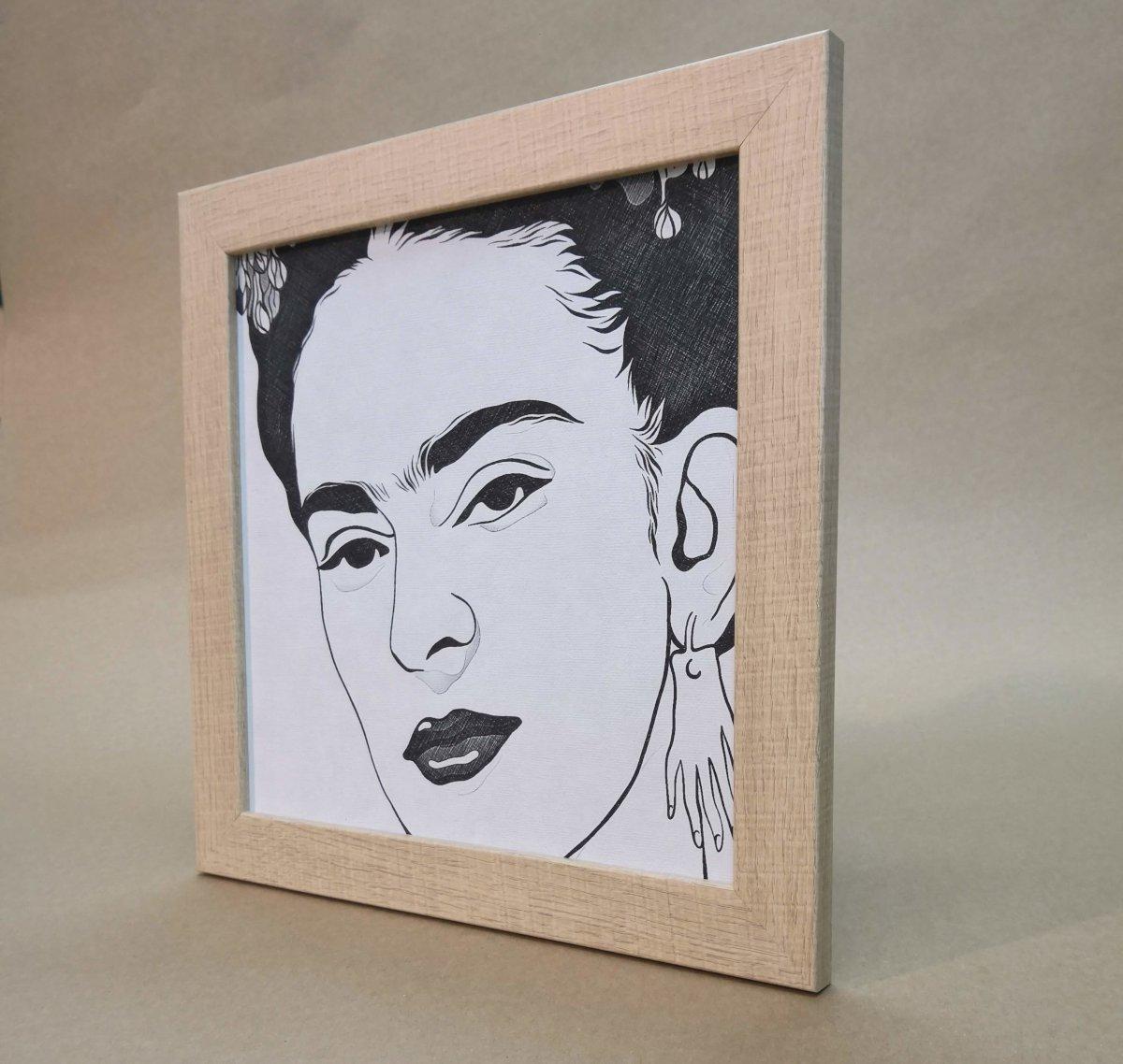 Marco natural 30x30 ilustración Frida Kahlo