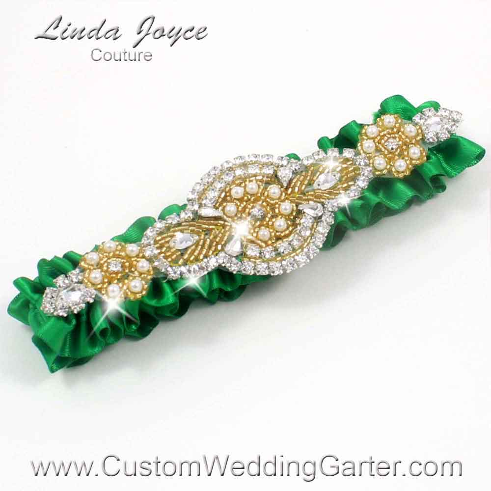 "Custom Wedding Garter: Emerald Green and Gold Satin Beaded Pearl Wedding Garter ""Charlotte 01"" Gold"