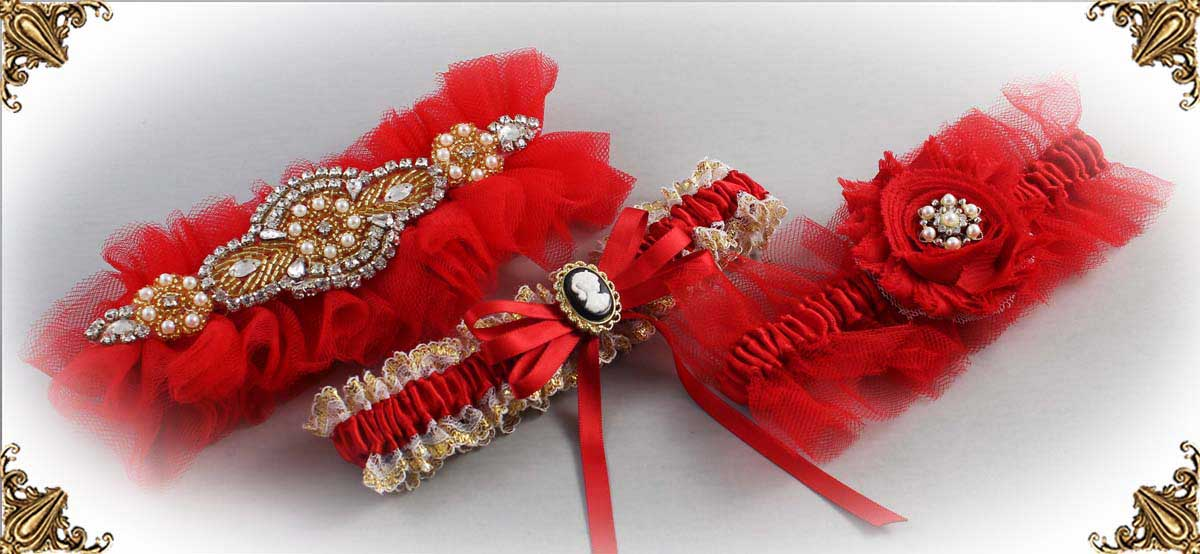 Red-Wedding-Garters-Bridal-Garter-Prom-Garters-Custom-Wedding-Garter-Linda-Joyce-couture