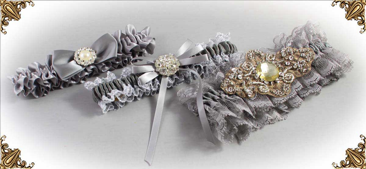 Gray Wedding Garters-Bridal-Garter-Prom-Garters-Custom-Wedding-Garter-Linda-Joyce-couture