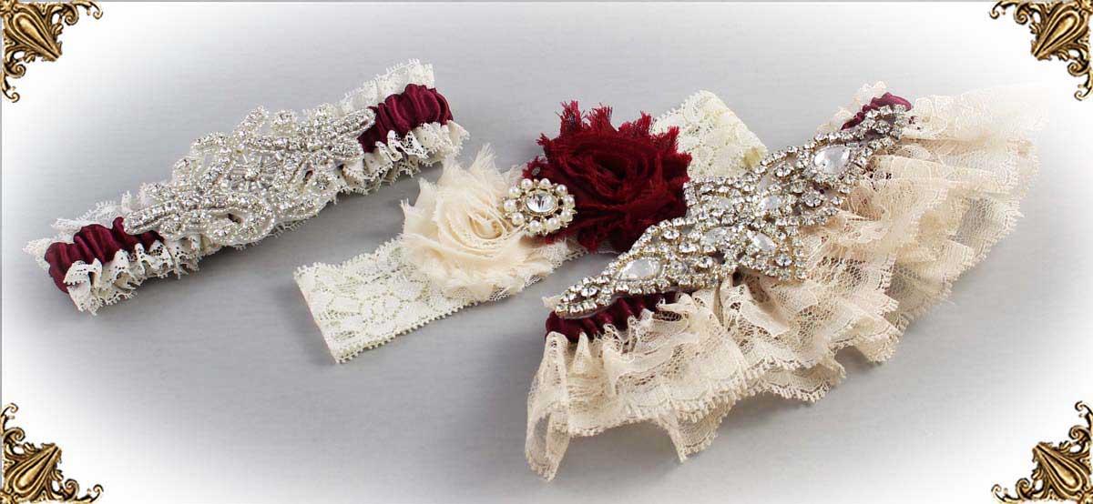 Ivory and Burgundy-Wedding-Garters-Bridal-Garter-Prom-Garters-Custom-Wedding-Garter-Linda-Joyce-couture