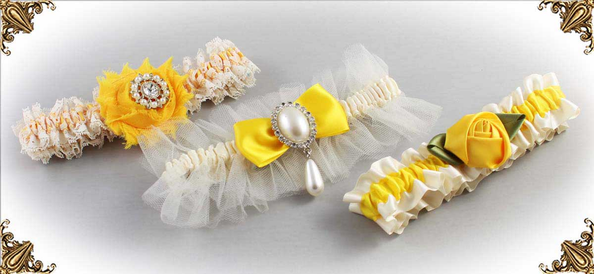 Ivory and Yellow-Wedding-Garters-Bridal-Garter-Prom-Garters-Custom-Wedding-Garter-Linda-Joyce-couture