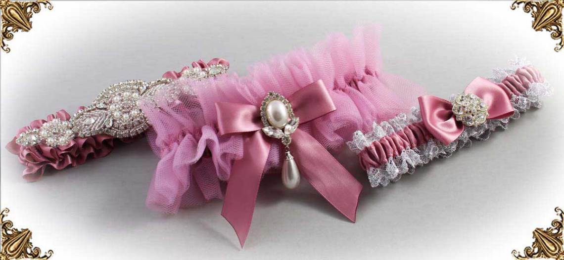 Rosy Mauve Wedding Garter 165
