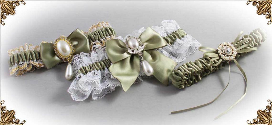 Soft Pine Wedding Garters 566