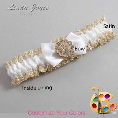 Customizable Wedding Garter / Carrie #04-B21-M12-Gold