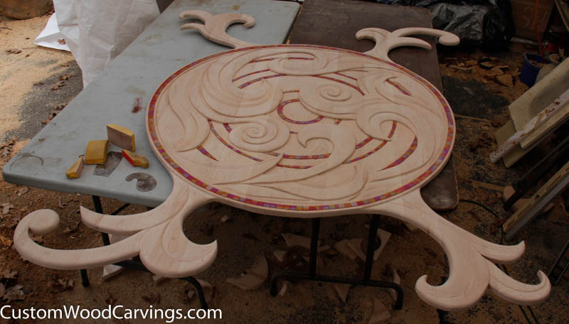 Floral relief carving custom sculpture sign company