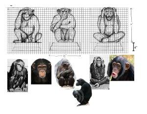 3 monkeys sketch larger