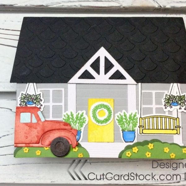 Shaped Cottage Card with CutCardStock