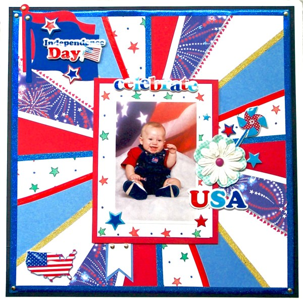 How to Make a 4th of July Sunburst Layout Using Cardstock
