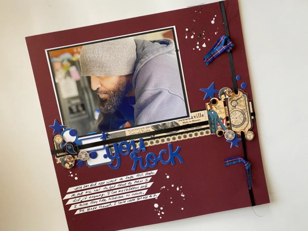 A Masculine Layout with DCS Burgundy Cardstock
