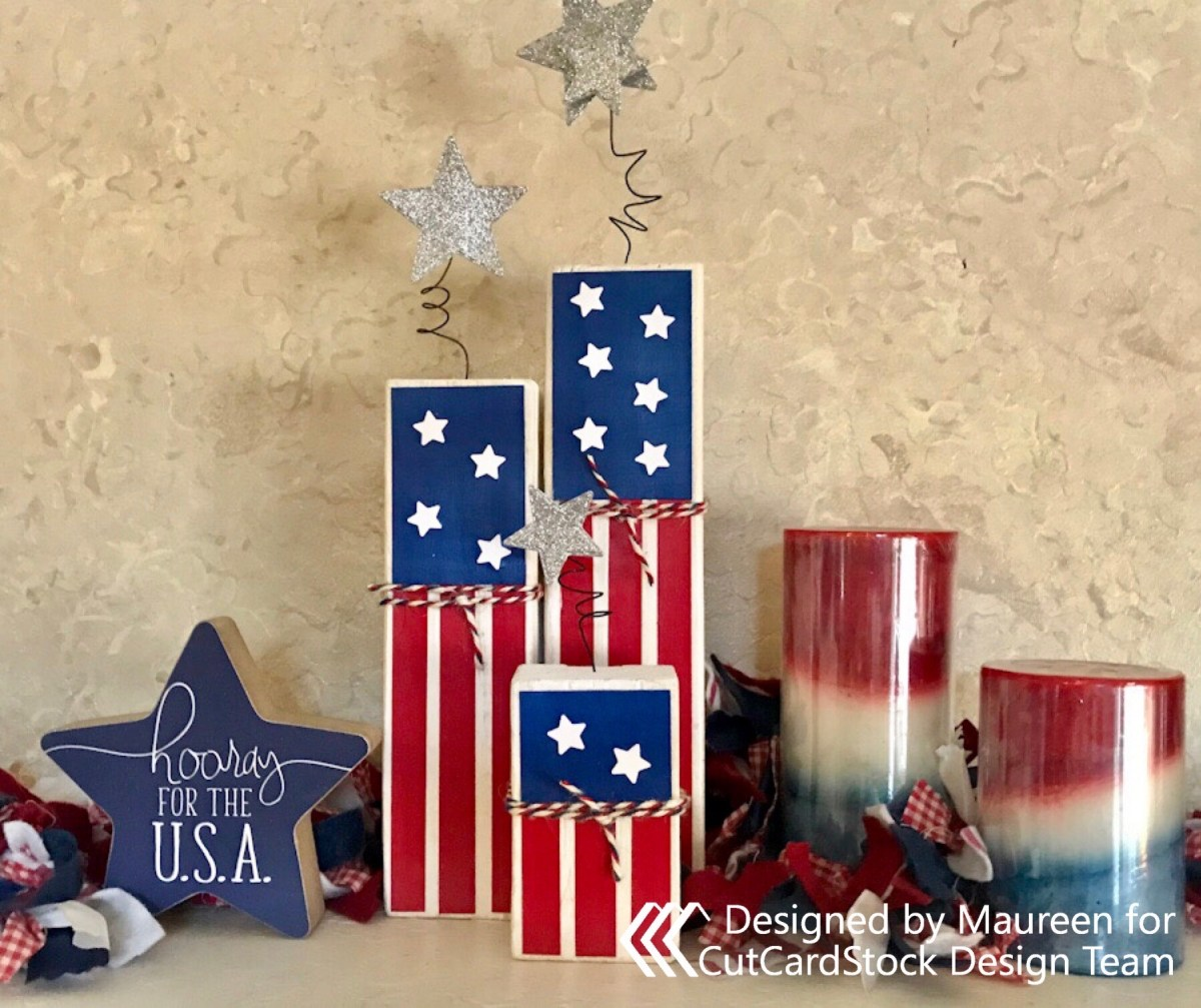 A patriotic firecracker display for my mantel using scraps of wood and CutCardStock paper.