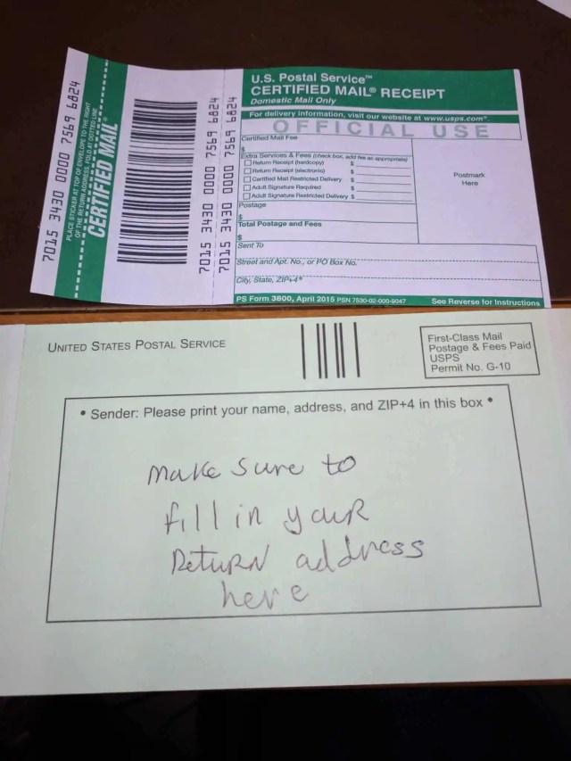 Certified Return Receipt Mail Old