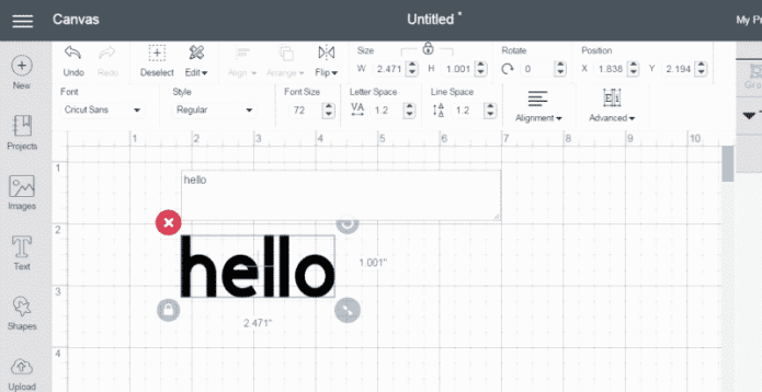 """A screenshot from Cricut Design Space with a text box that says, """"hello"""""""