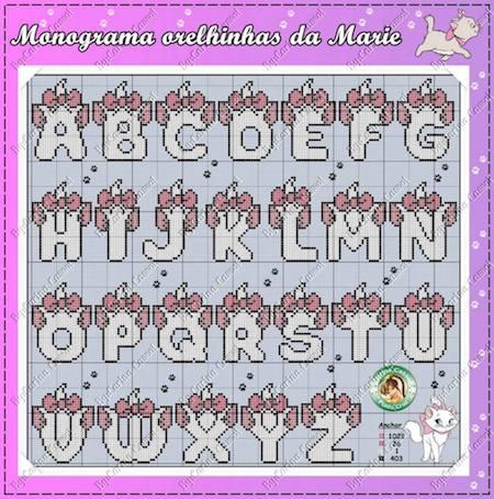 cros020 min - クロスステッチでイニシャル刺繍 〜 かわいいディズニーアルファベットの無料図案