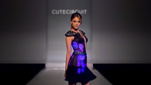 Eiza González wears CuteCircuit Pink&Black Collection.