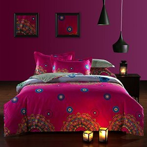Bright Pink Bohemian Bedding with Simple Design