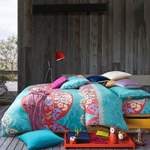 Boho Bedding in Blues and Tropical Flowers