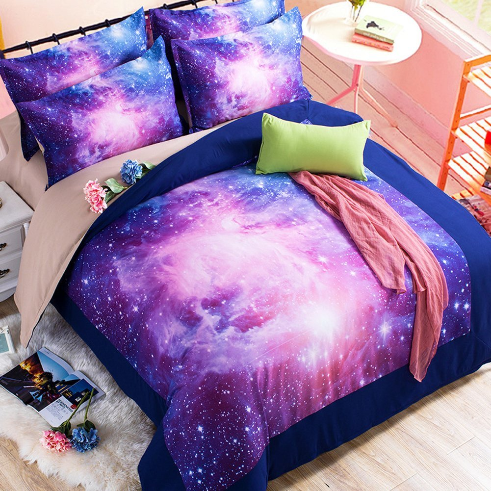 Gorgeous Pink, Purple and Blue 3D Galaxy Bedding Set