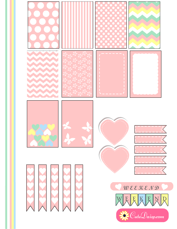 Free Printable Planner Stickers in Marshmallow Colors