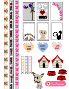 Free Printable Pets themed Stickers for Planners