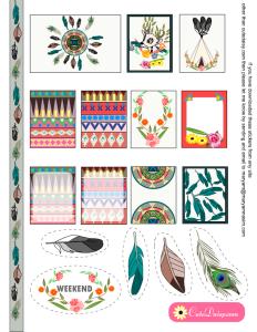 Free Printable Tribal Aztec Boho Stickers Sampler Kit for Erin Condren Life Planner ( ECLP )