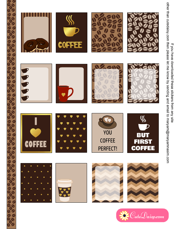 Free Printable Coffee Themed Planner Stickers Sampler Kit